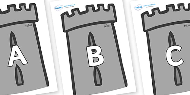 A-Z Alphabet on Turrets - A-Z, A4, display, Alphabet frieze, Display letters, Letter posters, A-Z letters, Alphabet flashcards