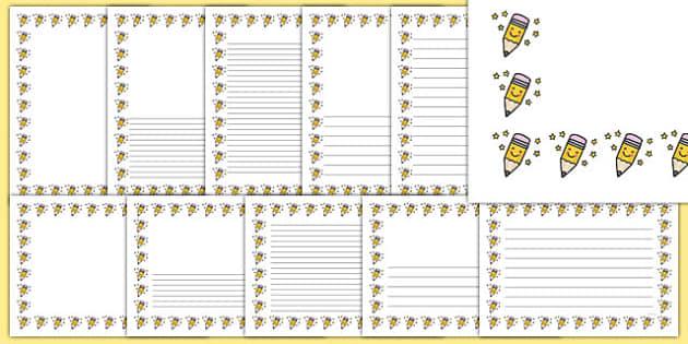 Smiley Pencil Portrait Page Borders - smiley pencil, portrait, page borders, page, borders