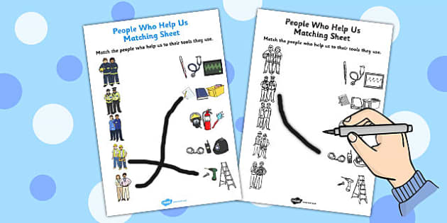 People Who Help Us and their Tools Matching Activity Sheet - matching, sheet, tools, worksheet