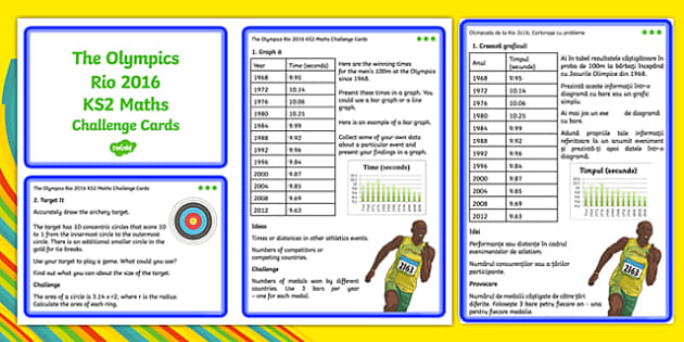 The Olympics Rio 2016 UKS2 Maths Challenge Cards Romanian Translation - romanian, KS2 Maths, Olympics, Rio, sevens, rugby, target, archery, tickets, halving, olympic torch