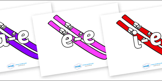 Modifying E Letters on Skis - Modifying E, letters, modify, Phase 5, Phase five, alternative spellings for phonemes, DfES letters and Sounds