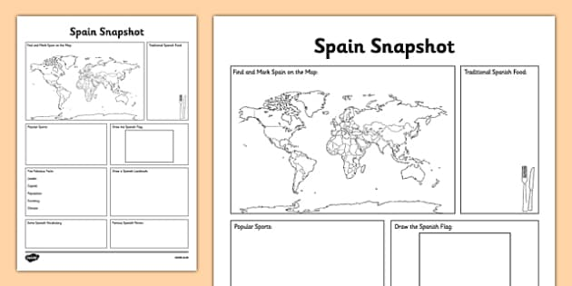 Spain Snapshot - CfE, second level, fact file, people and place, Spain, comparison study