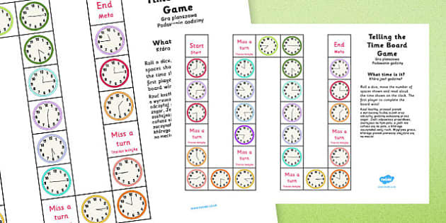 Telling the Time Board Game KS1 O'clock, Half Past, Quarter To and Past Polish Translation - polish, telling the time, board game, ks1, o'clock, half past, quarter to, quarter past