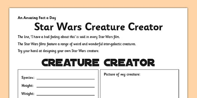 Star Wars Creature Creator Activity Sheet - star wars, design, creature, fact of the day, activity, worksheet