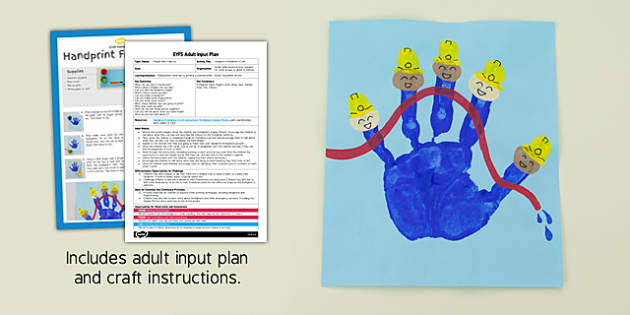 EYFS Handprint Firefighters Craft Adult Input Plan and Resource Pack