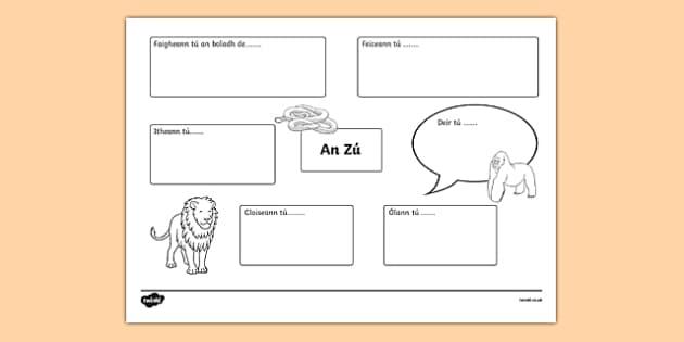 An Zú Sensory Activity Sheet, worksheet