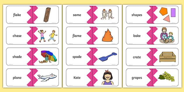 Phase 5 Real a-e Split Digraph Words Matching Cards, silent e