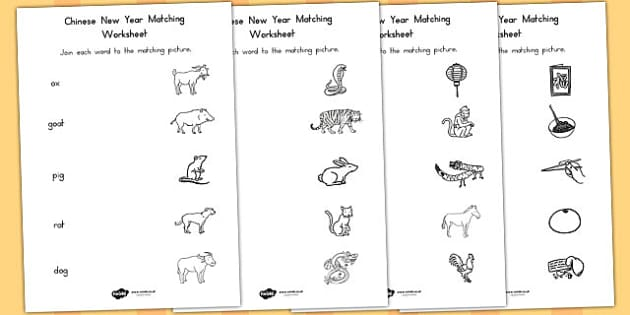 Chinese New Year Name and Picture Matching Worksheet - australia