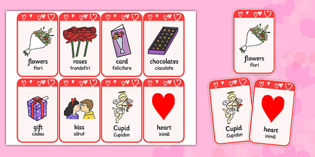 Valentine's Day Flashcards Romanian Translation - romanian, valentines day, visual aids, keywords