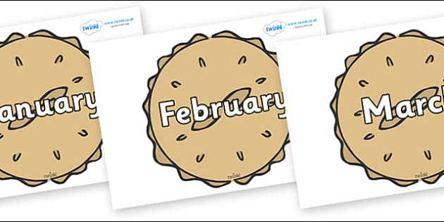 Months of the Year on Pies - Months of the Year, Months poster, Months display, display, poster, frieze, Months, month, January, February, March, April, May, June, July, August, September