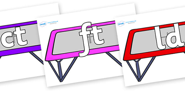 Final Letter Blends on Trampolines - Final Letters, final letter, letter blend, letter blends, consonant, consonants, digraph, trigraph, literacy, alphabet, letters, foundation stage literacy