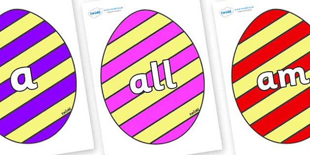 Foundation Stage 2 Keywords on Easter Eggs (Stripes) - FS2, CLL, keywords, Communication language and literacy,  Display, Key words, high frequency words, foundation stage literacy, DfES Letters and Sounds, Letters and Sounds, spelling