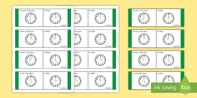Time, O'Clock Loop Cards - Gaeilge - Requests - ROI, Irish, Gaeilge, time, clocks, o'clock, an t-am, am, clog, an chlog, loop game,Irish