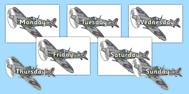 Days of the Week on Spitfires - days, week, spitfires, world war two, transport, plane