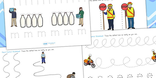 People Who Help Us Pencil Control Worksheets - fine motor skills