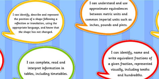 2014 Curriculum Year 5 Maths Assessment I Can Speech Bubbles
