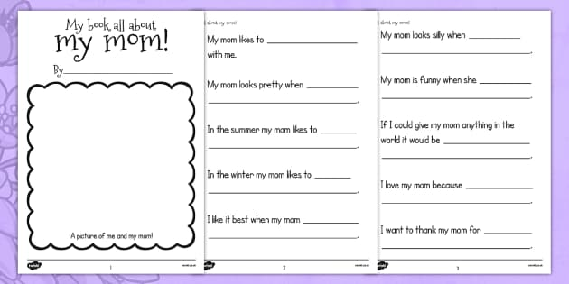 A Book About My Mom Template - usa, mothers day, mom, writing template