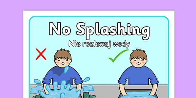 No Splashing at the Sink Poster Polish Translation - polish, no splashing, sink, splashing, poster, display