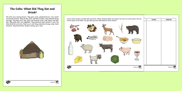 The Celts: What Did They Eat and Drink? Activity Sheet-Scottish