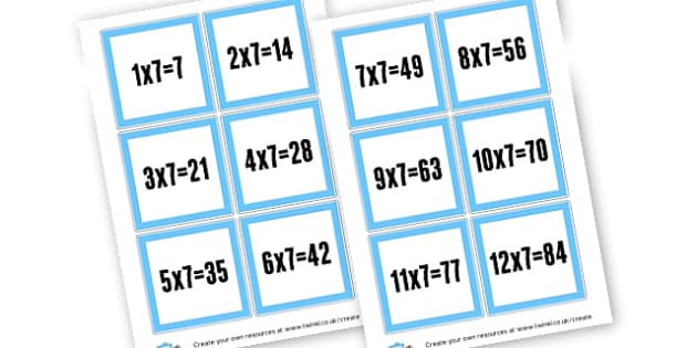 7 Times Table cards - Times Tables Primary Resources, multiply, times, number of, games, Times, Table, Tabe