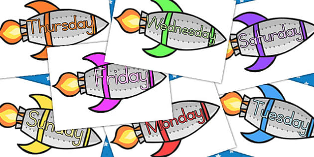 Days Of The Week On Rockets - australia, days, week, rockets