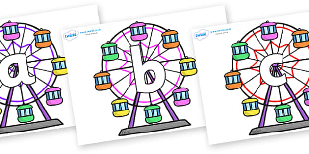 Phoneme Set on Ferris Wheels - Phoneme set, phonemes, phoneme, Letters and Sounds, DfES, display, Phase 1, Phase 2, Phase 3, Phase 5, Foundation, Literacy