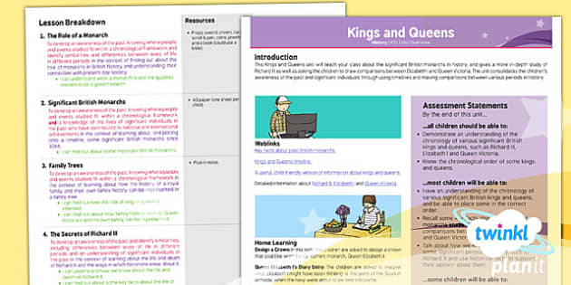 PlanIt - History KS1 - Kings and Queens Planning Overview - royal