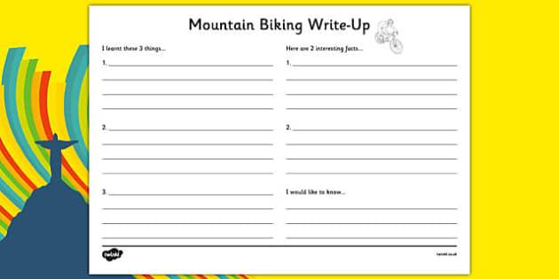 Rio 2016 Olympics Mountain Biking Write-Up Worksheet - rio 2016, rio olympics, 2016 olympics, mountain biking, write up
