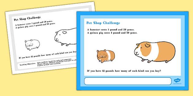 Pet Shop Maths Challenge A4 Display Posters - Maths, Challenge