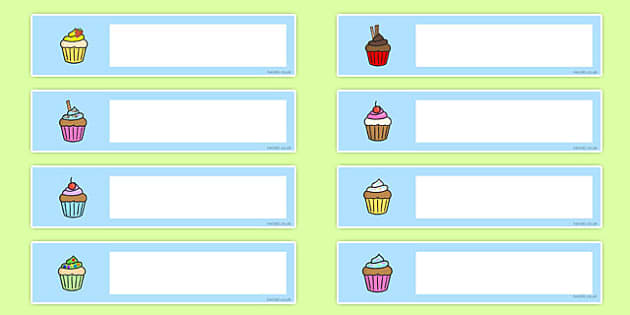 Cupcake Themed Editable Gratnells Tray Labels - signs, label