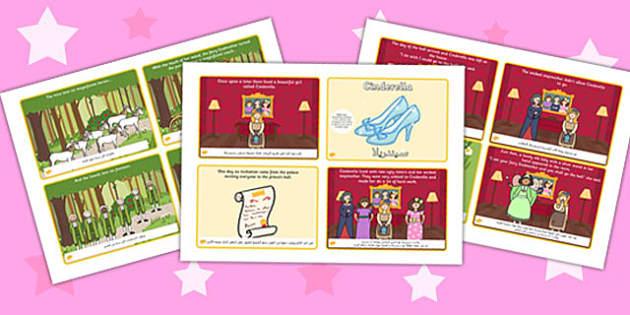 تسلسل قصة سيندريلا (أربعة في صفحة A4) إنجليزي عربي