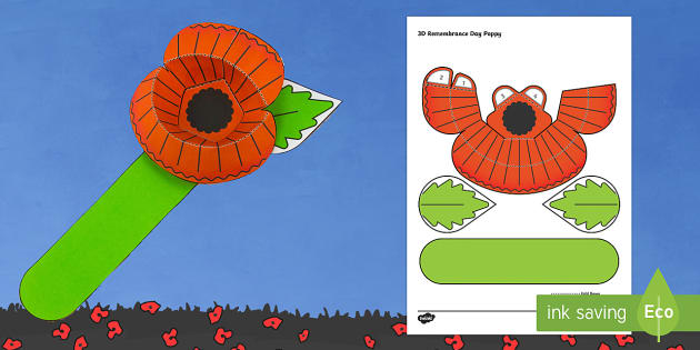 Simple 3D Remembrance Day Poppy Activity Paper Craft