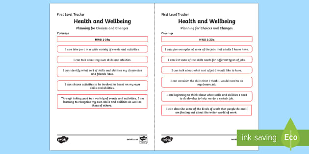 CfE Health and Wellbeing (Planning for Choices and Changes) First Level Child Friendly Tracking-Scottish