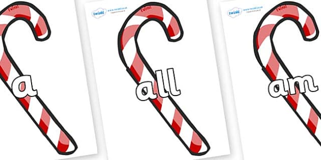 Foundation Stage 2 Keywords on Candy Canes (Plain) - FS2, CLL, keywords, Communication language and literacy,  Display, Key words, high frequency words, foundation stage literacy, DfES Letters and Sounds, Letters and Sounds, spelling