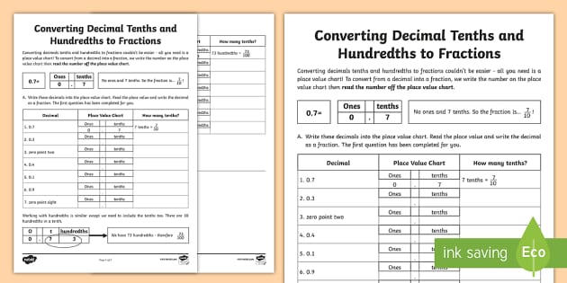 Converting fractions to decimals tenths and hundredths worksheet