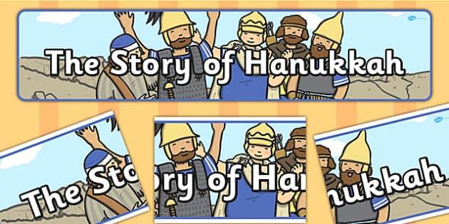The Story of Hanukkah Display Banner - hanukkah, display, banner