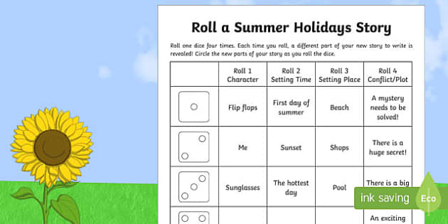 Roll a Summer Holidays Story Storyboard Template - End of Year, summertime, summer, summer holidays, story writing, roll a story,Australia