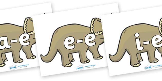 Modifying E Letters on Triceratops - Modifying E, letters, modify, Phase 5, Phase five, alternative spellings for phonemes, DfES letters and Sounds