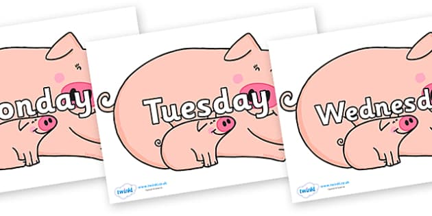 Days of the Week on Hullabaloo Pigs to Support Teaching on Farmyard Hullabaloo - Days of the Week, Weeks poster, week, display, poster, frieze, Days, Day, Monday, Tuesday, Wednesday, Thursday, Friday, Saturday, Sunday