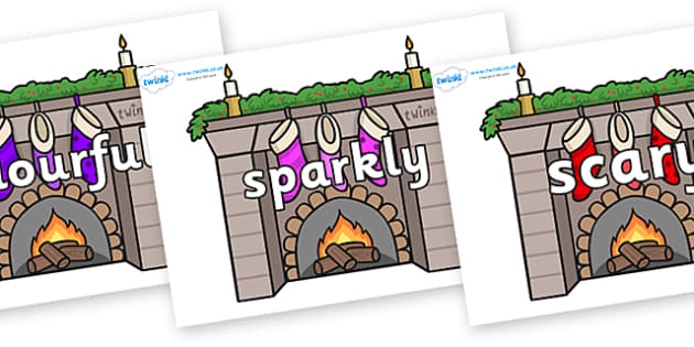 Wow Words on Fireplaces - Wow words, adjectives, VCOP, describing, Wow, display, poster, wow display, tasty, scary, ugly, beautiful, colourful sharp, bouncy