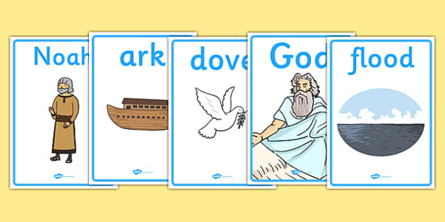 Noah's Ark Display Posters - Noah's Ark, display, poster, sign, noah, tools, ark, animals, rain, rainbow, flood, dove, land