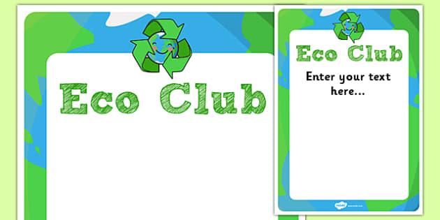 Eco Club Poster Editable Template - eco club, extracurricular, club, editable poster, template