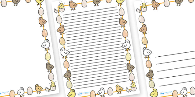Chick And Eggs A4 Page Borders - chick and eggs, easter, spring, chick, eggs, A4, page border, border, writing template, writing aid, writing, blossom, sun, new, season