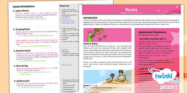 PlanIt - Science Year 3 - Rocks Planning Overview - rocks, geology, geography, stones
