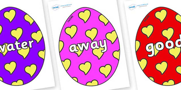 Next 200 Common Words on Easter Eggs (Hearts) - Next 200 Common Words on  - DfES Letters and Sounds, Letters and Sounds, Letters and sounds words, Common words, 200 common words