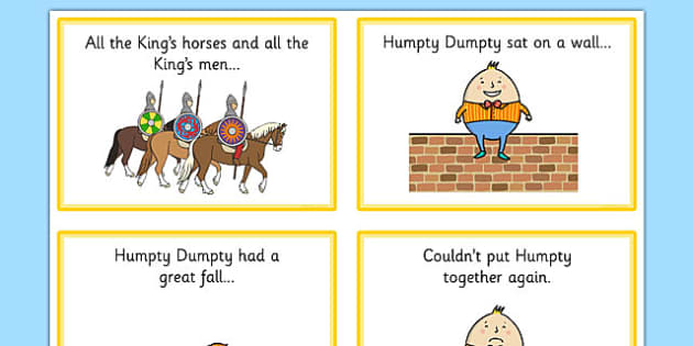 Humpty Dumpty Sequencing (4 per A4) - Humpty Dumpty, sequencing, nursery rhyme, rhyme, rhyming, nursery rhyme story, nursery rhymes, position, Humpty Dumpty resources