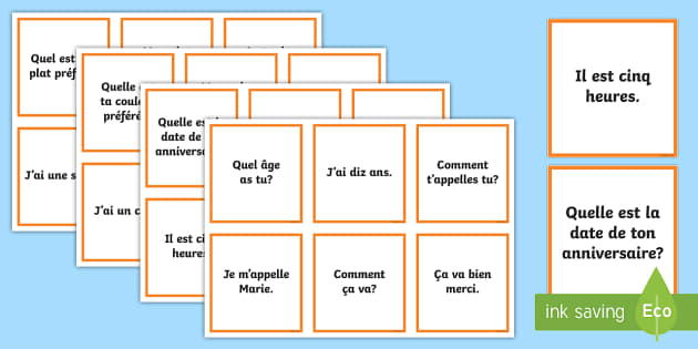 Question and Answer Matching Cards French - French Games, french questions, matching cards in french, cooperative french games.,Scottish