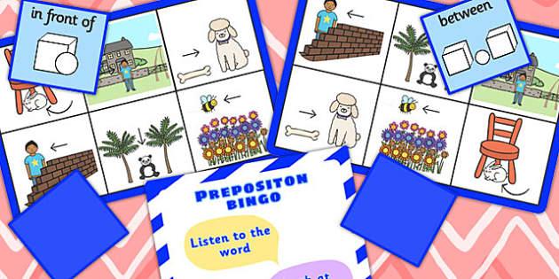 Preposition Bingo Two - positions, SEN, SEN games, visual aid, prepositions
