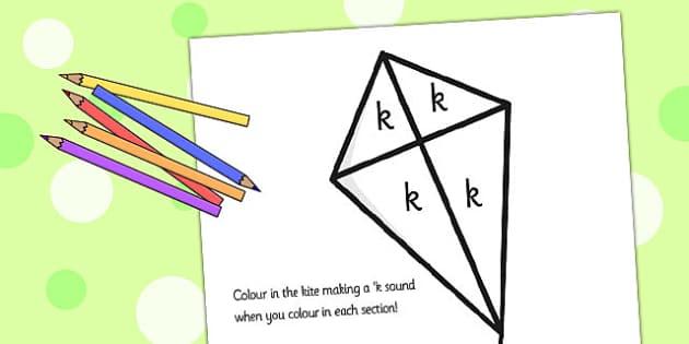 k Sound Production Kite Colouring Sheet - k sound, colouring