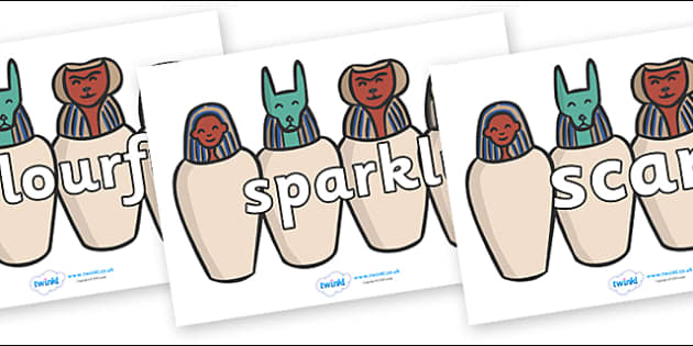Wow Words on Egyptian Jars - Wow words, adjectives, VCOP, describing, Wow, display, poster, wow display, tasty, scary, ugly, beautiful, colourful sharp, bouncy